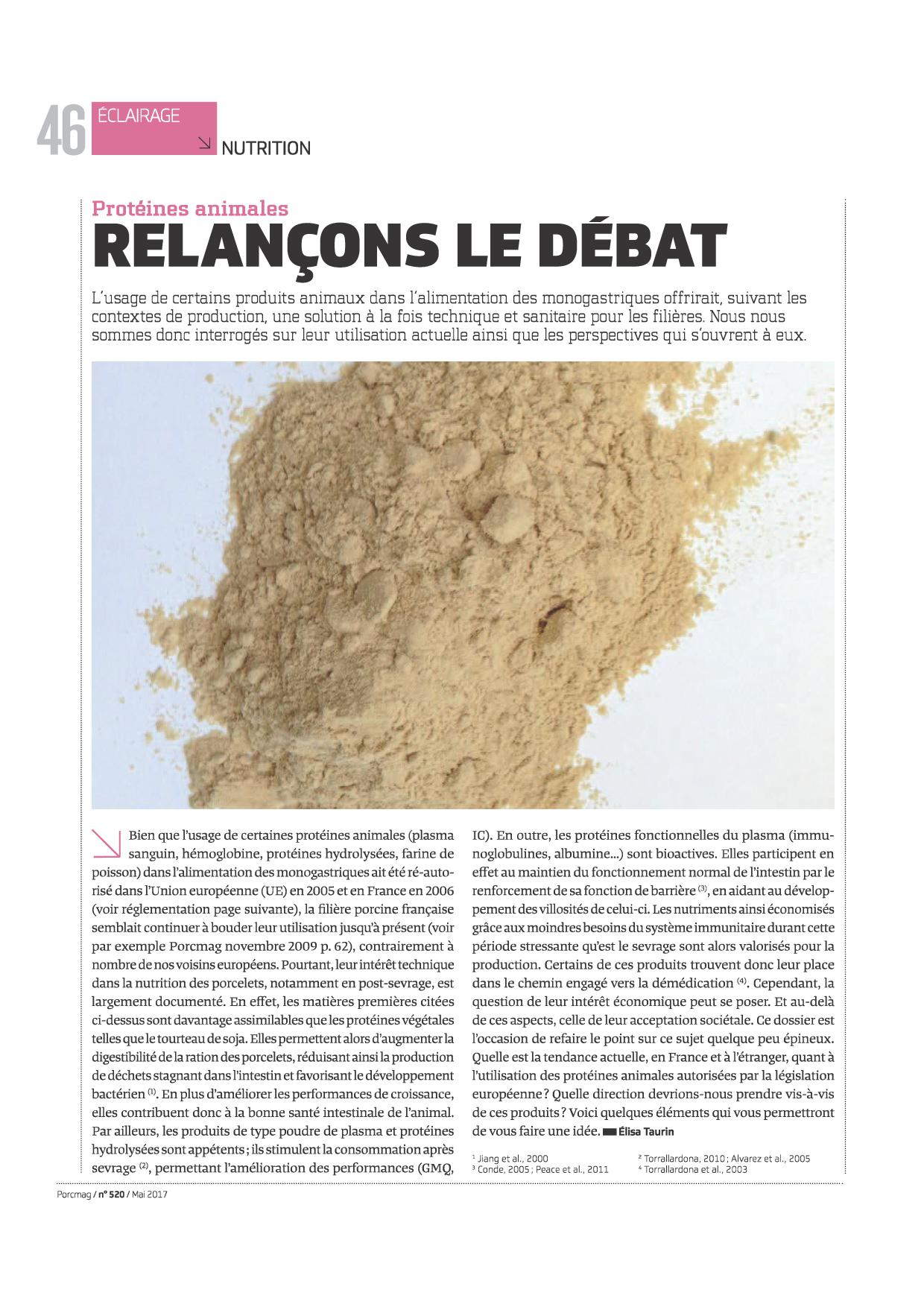 Article proteines animales PORCMAG Mai 2017 p1